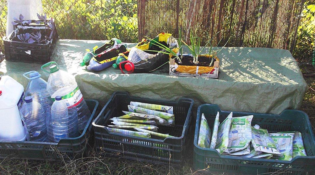 Säen und pflanzen in Recycling Gefäßen